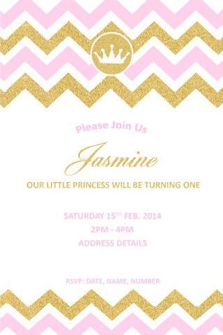kids birthday invitation princess chevron princess party ideas