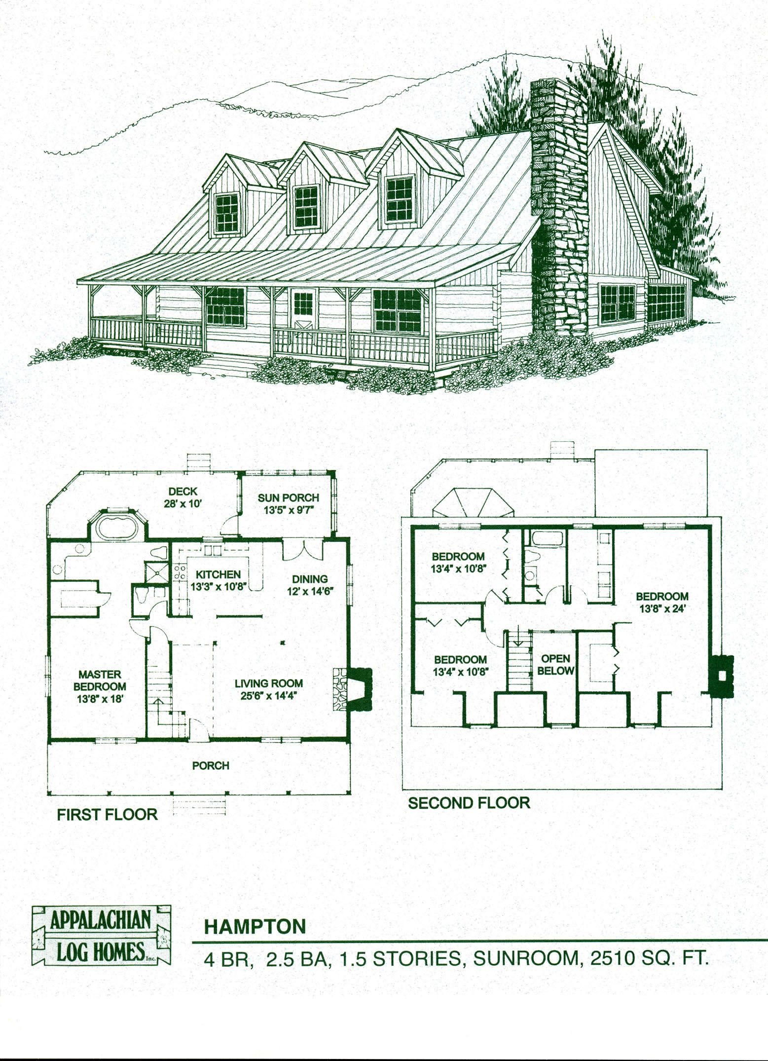 Log Home Package Kits - Log Cabin Kits - Hampton Model | Floor plans ...