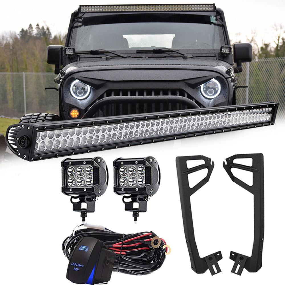 52 Light Bar Led 300w 2 Spot Lights Mounting Brackets Jeep