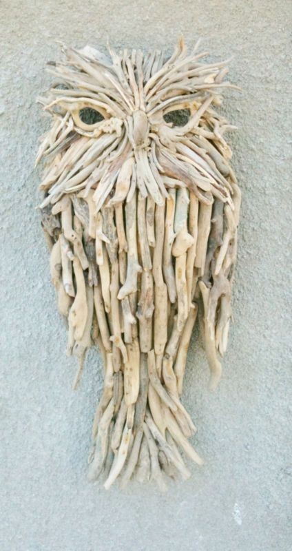 Large ChiselCraft Driftwood Owl Lamp Cover Wood Carving Sculpture Wall Art  | EBay