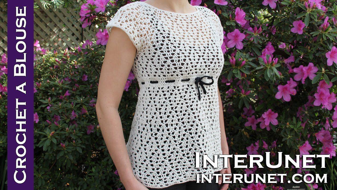 Crochet a raglan sleeve blouse - women\'s dress shirt crochet pattern ...