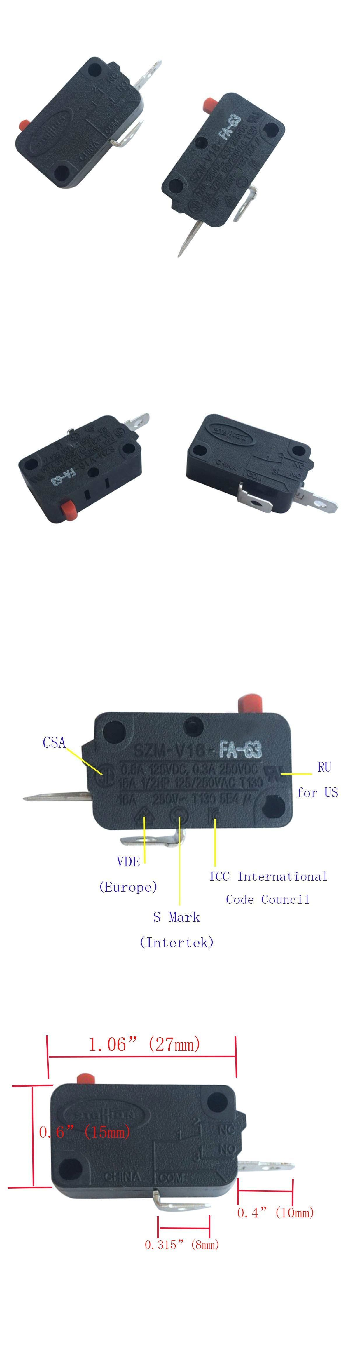 Microwave Parts And Accessories 159903 Pack Of 2 Szm V 16 Fa 63 Microwave Oven Door Micro Switch For Lg Ge Microwave Oven Microwave Parts Microwave