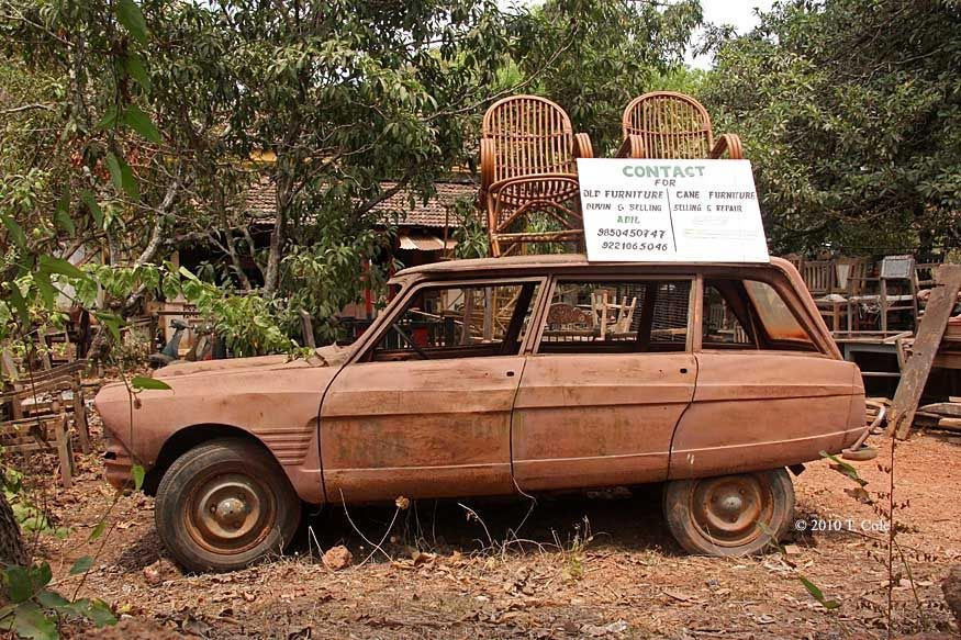funky old car with 2 chairs & a sign | Rusty & Worn | Pinterest ...
