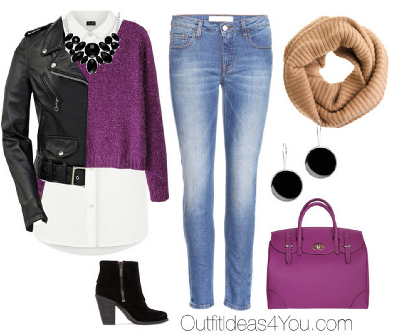 Get the Look: Black Leather Jacket With Purple Sweater | Leather ...