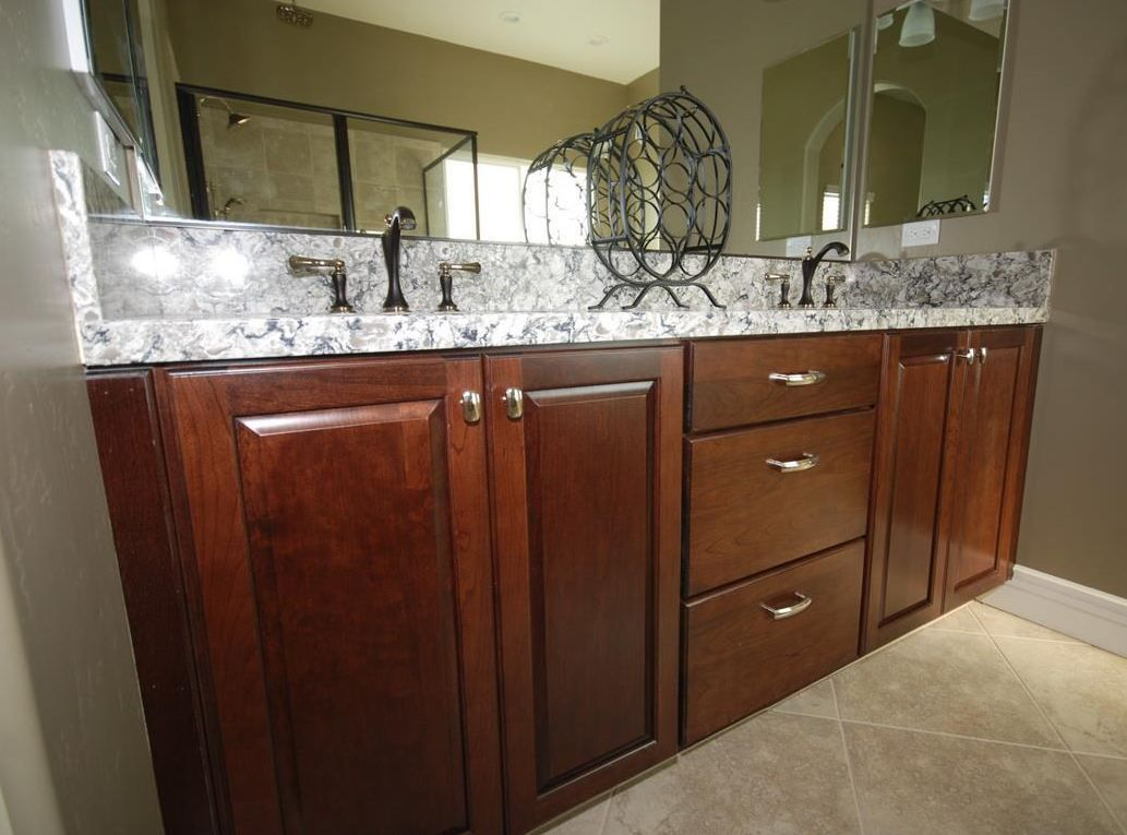 St. Jude 2012 Dreamhome Masterbath Vanity With KraftMaid Cherry Kaffe  Cabinetry And Cambria Bellingham Countertops