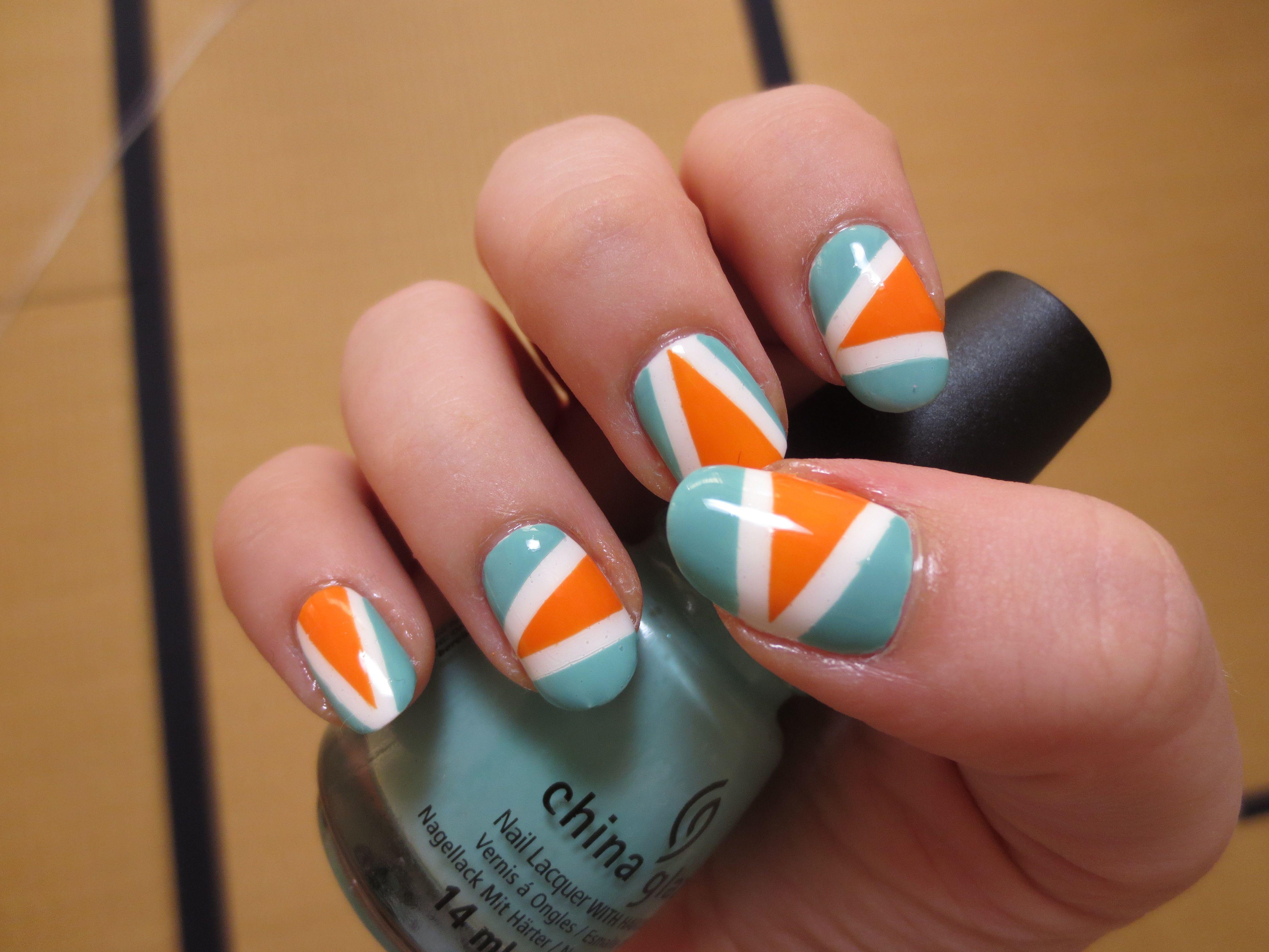 Orange Color Block Nails Nails Color Block Nails Orange Color