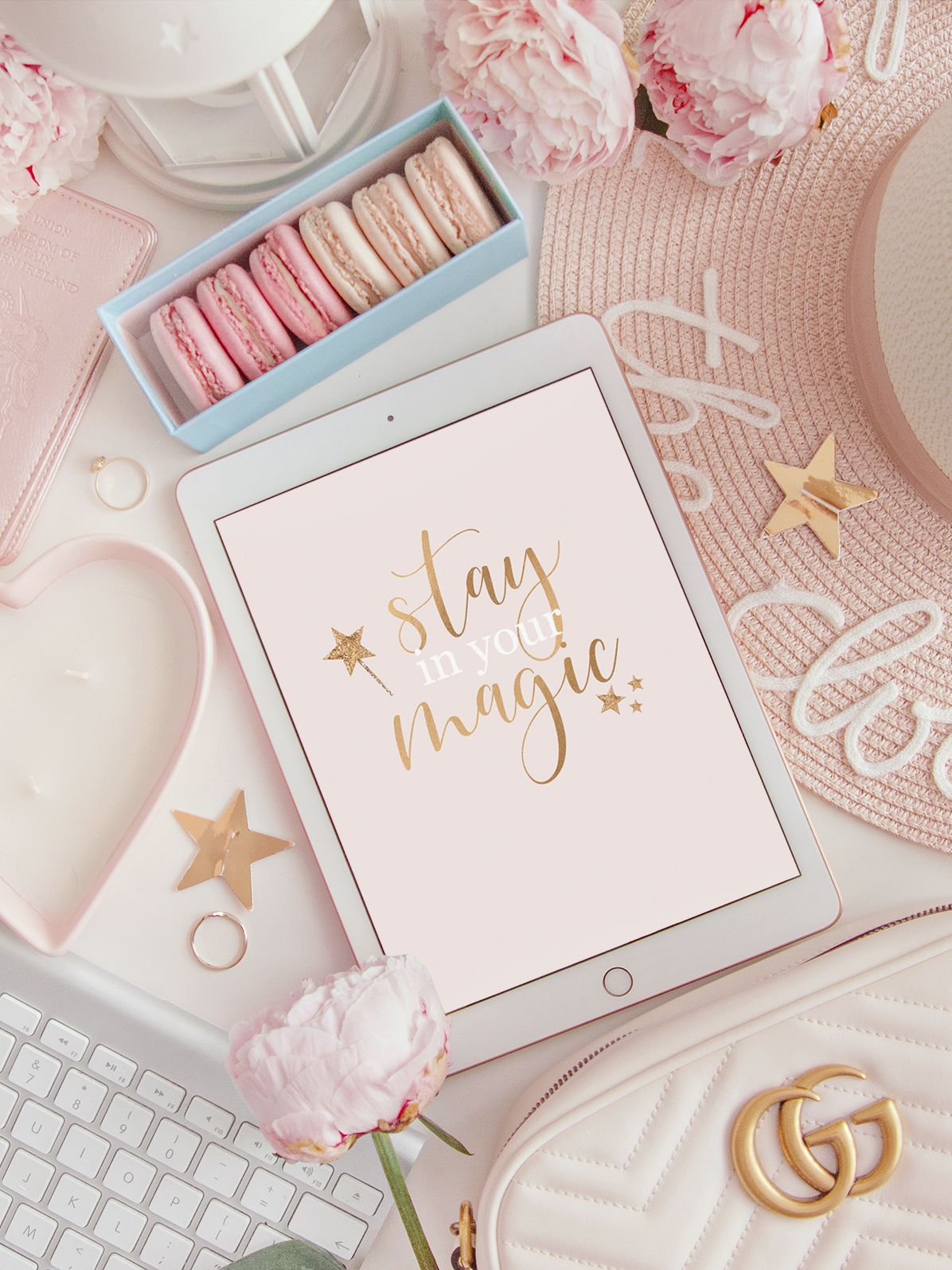 Flatlay Image Of An Ipad With The Quote Stay In Your Magic Pastel Pink Aesthetic Pink Wallpaper Iphone Pink Girly Things