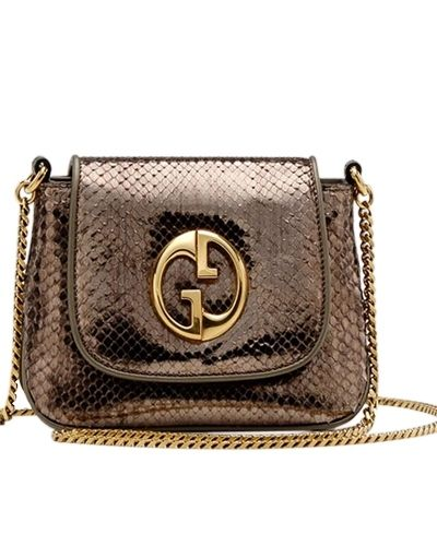77b97d03ad7 Gucci 1973 small shoulder bag gunmetal python -  489