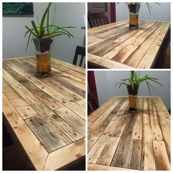 10 Reclaimed Pallet Wood Rustic Board Lumber: Reclaimed Pallet Wood Dining Room Table By