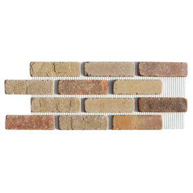 Brickweb 8 7 Sq Ft Box Smooth Promontory Brick Veneer From Lowes As Of 8 1 14 81 49 For 12 Bricks Per Sheet Premounted On Brick Paneling Thin Brick Castle Gate