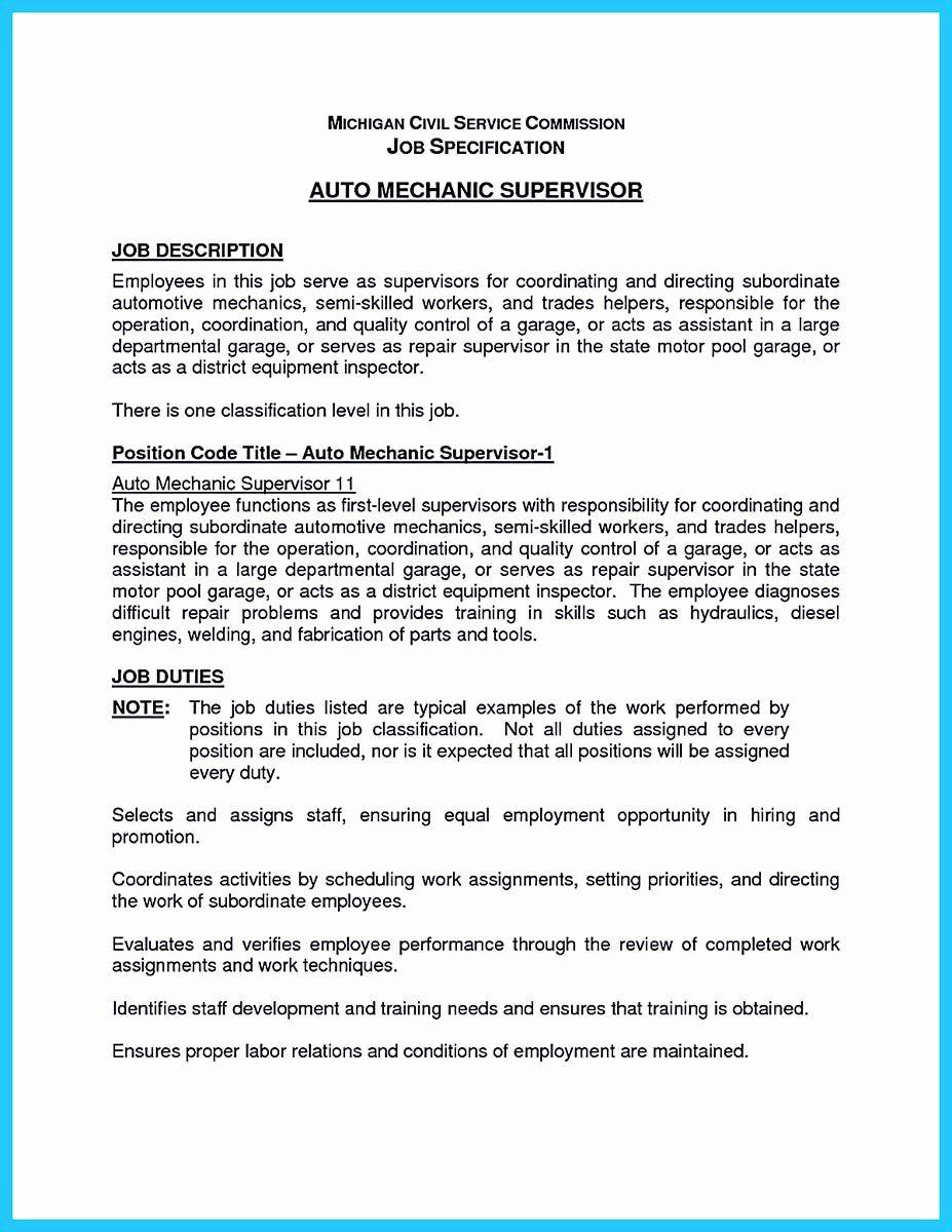 Mechanic Job Description Resume Unique Delivering Your