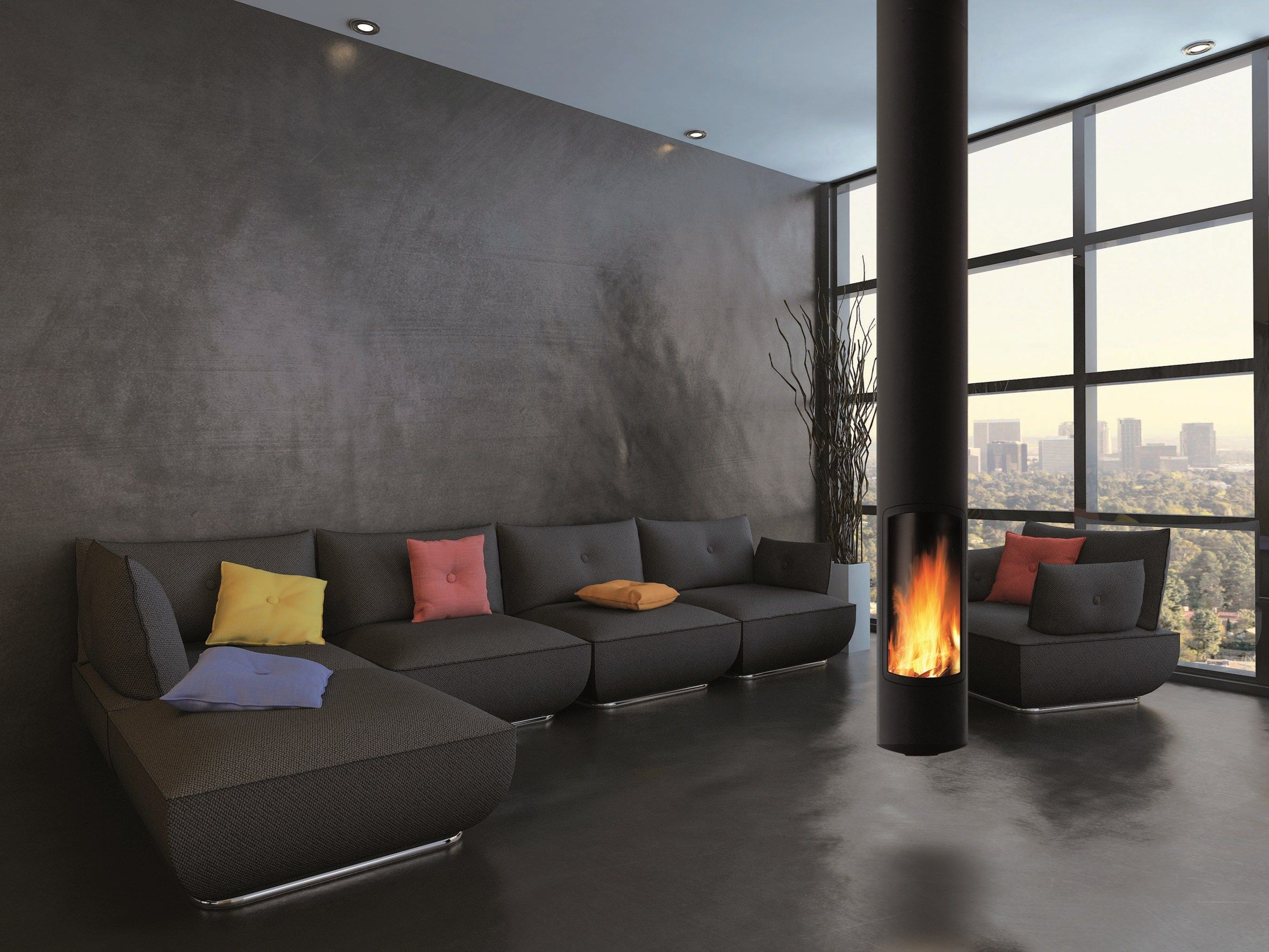 Wood Burning Central Hanging Fireplace Slimfocus By Focus