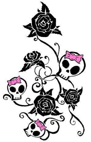 Feminine Tattoo Flash Art Google Search Girly Skull Tattoos Feminine Skull Tattoos Skull Tattoo Design