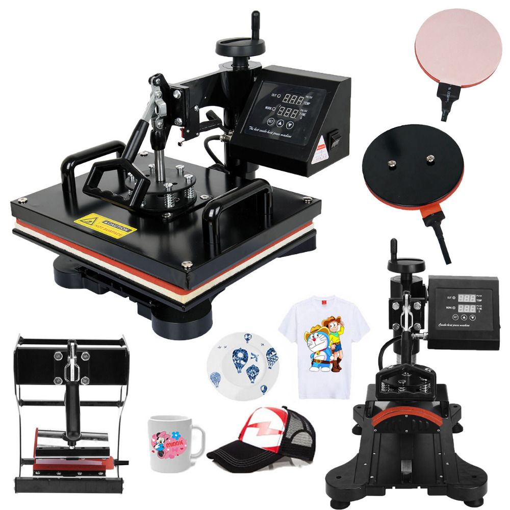 Ship From Germany 5 In 1 Combo Heat Press Machine Swing Away Transfer Sublimation T Shirt Mug Hat Cap Plat Heat Press Transfers Heat Press Machine Heat Press