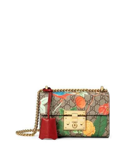 1a39e5373536 GUCCI PADLOCK GUCCI TIAN SMALL SHOULDER BAG, MULTI. #gucci #bags #shoulder  bags #leather #canvas #lining #