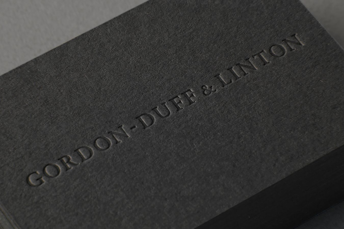 Visual identity and blind embossed business card for Gordon-Duff ...
