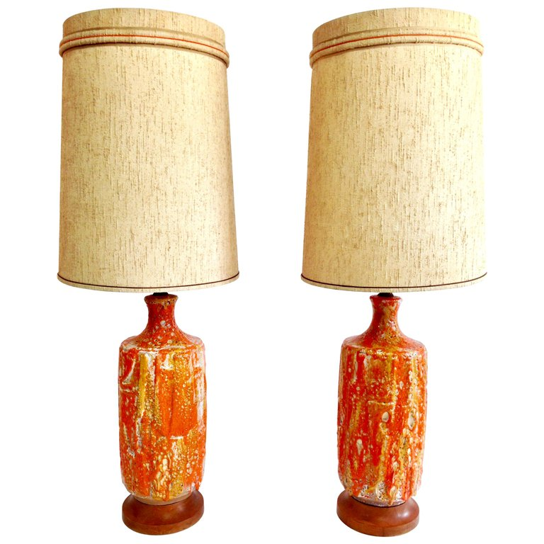 Midcentury Jar Form Ceramic Table Lamps