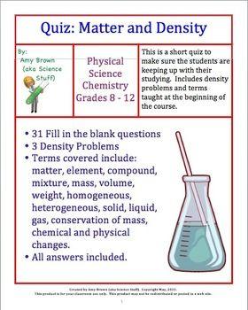 Matter and Density Quiz Set | A+ Classroom Teachers