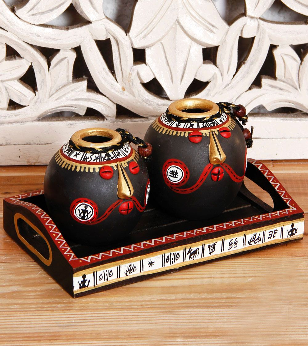 Set Of 2 Hand Painted Terracotta Pots & Tray With Tribal