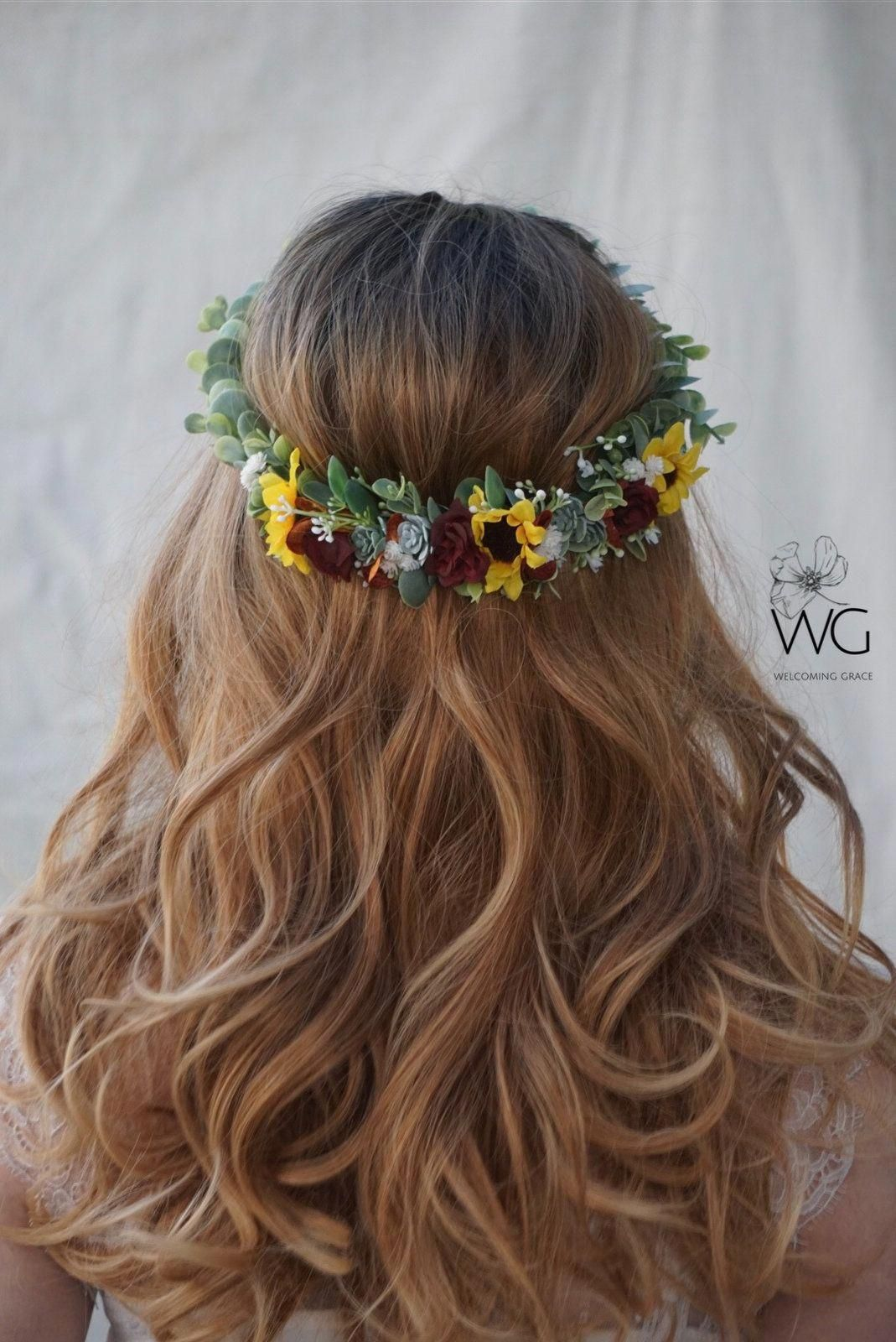 Items similar to Sunflower succulent crown, burgundy sunflower crown, baby's breath sunflower crown, autumn floral headpiece, flower crown wedding on Etsy