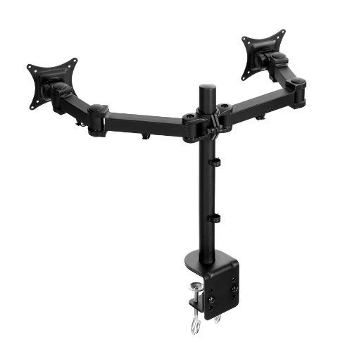 360/° Swivel Rotation /& 30/° Tilt Lavolta Dual Monitor Stand Vesa Mounting 75 x 75 /& 100 x 100 mm Double Desk Mount Arm Bracket for Computer PC LCD Screen TV Gaming Display 19-27