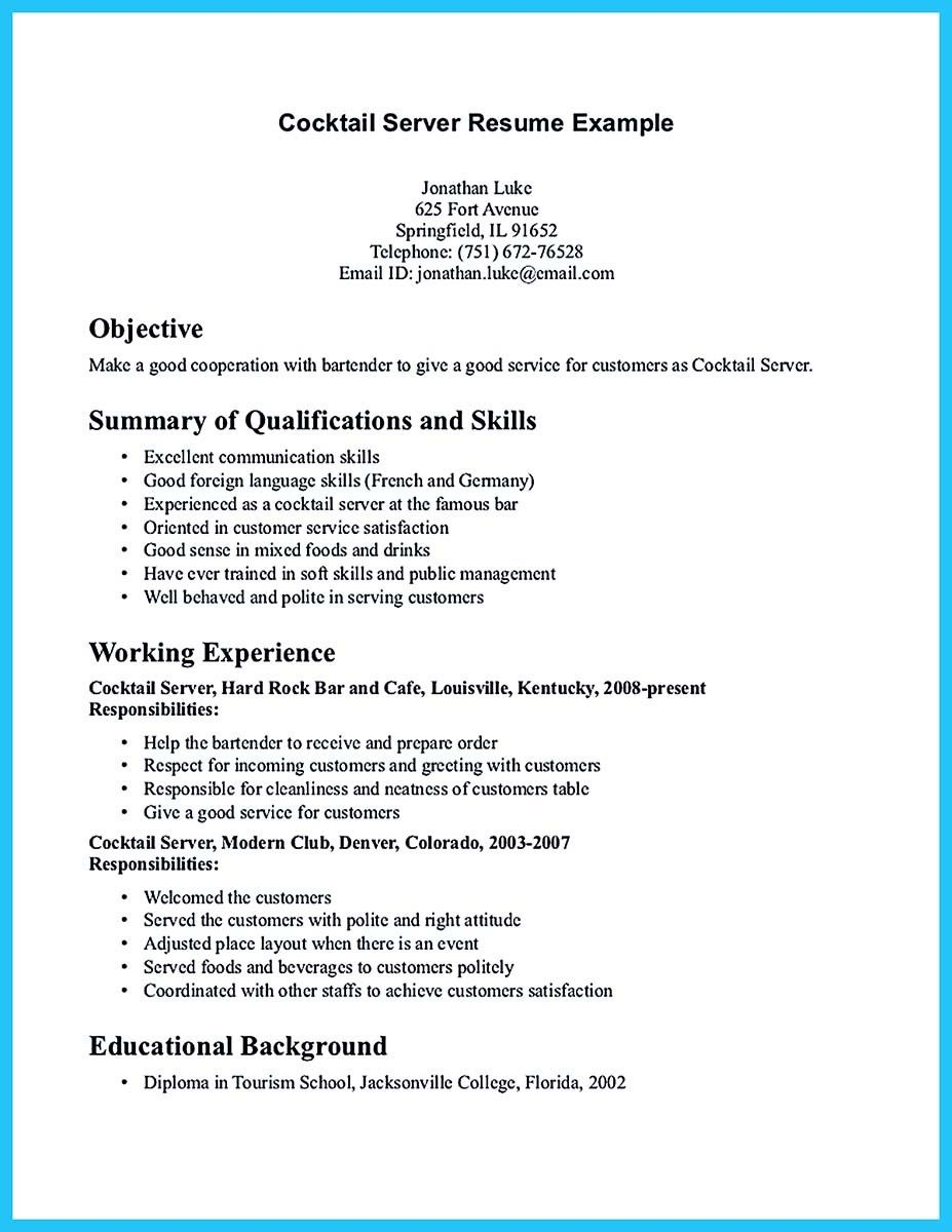 Nice Impressive Bartender Resume Sample That Brings You To A Job