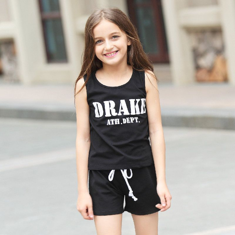 2016 Summer 2 Pcs Sports Set Baby Girls Boutique Clothing Kids Clothes For  Teens Age From 5 6 7 8 9 10 11 12 13 14T Years Old de342046bcbb