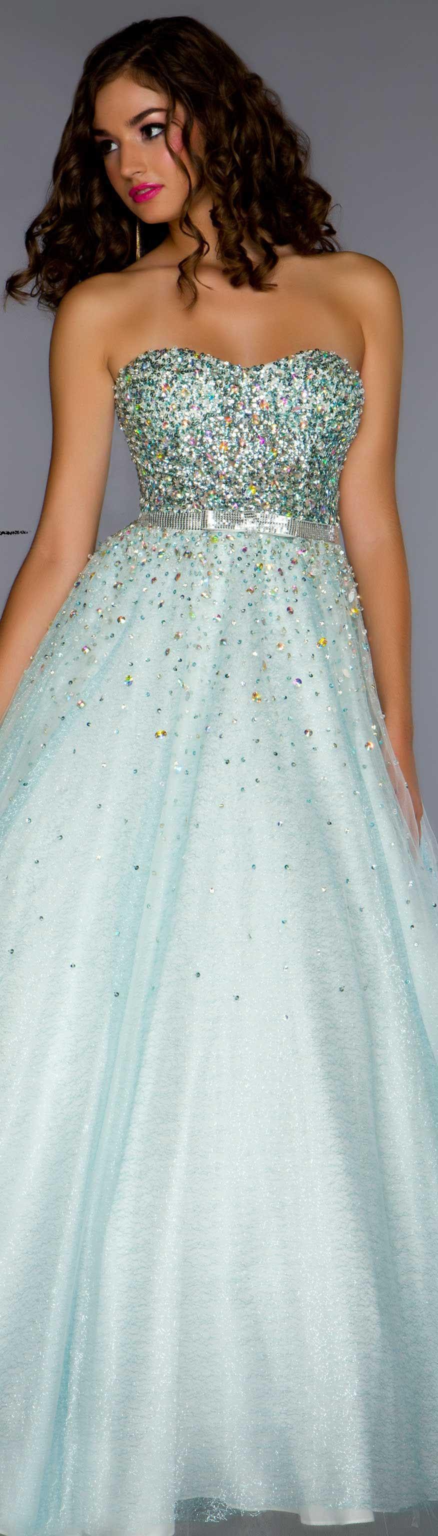 Mac duggal couture dress aqua strapless glitter long formal