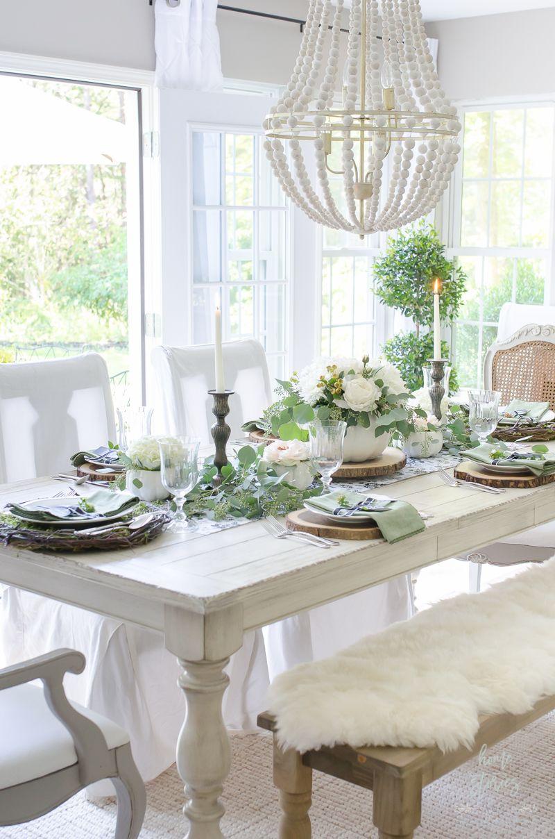 Elegant Black, White, and Green Farmhouse Table Setting