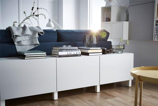 Rangement Et Meuble Tv Salon Besta Blanc Et Gris Clair Lappviken Meuble Derriere Canape Meuble Bas Salon Deco Derriere Canape