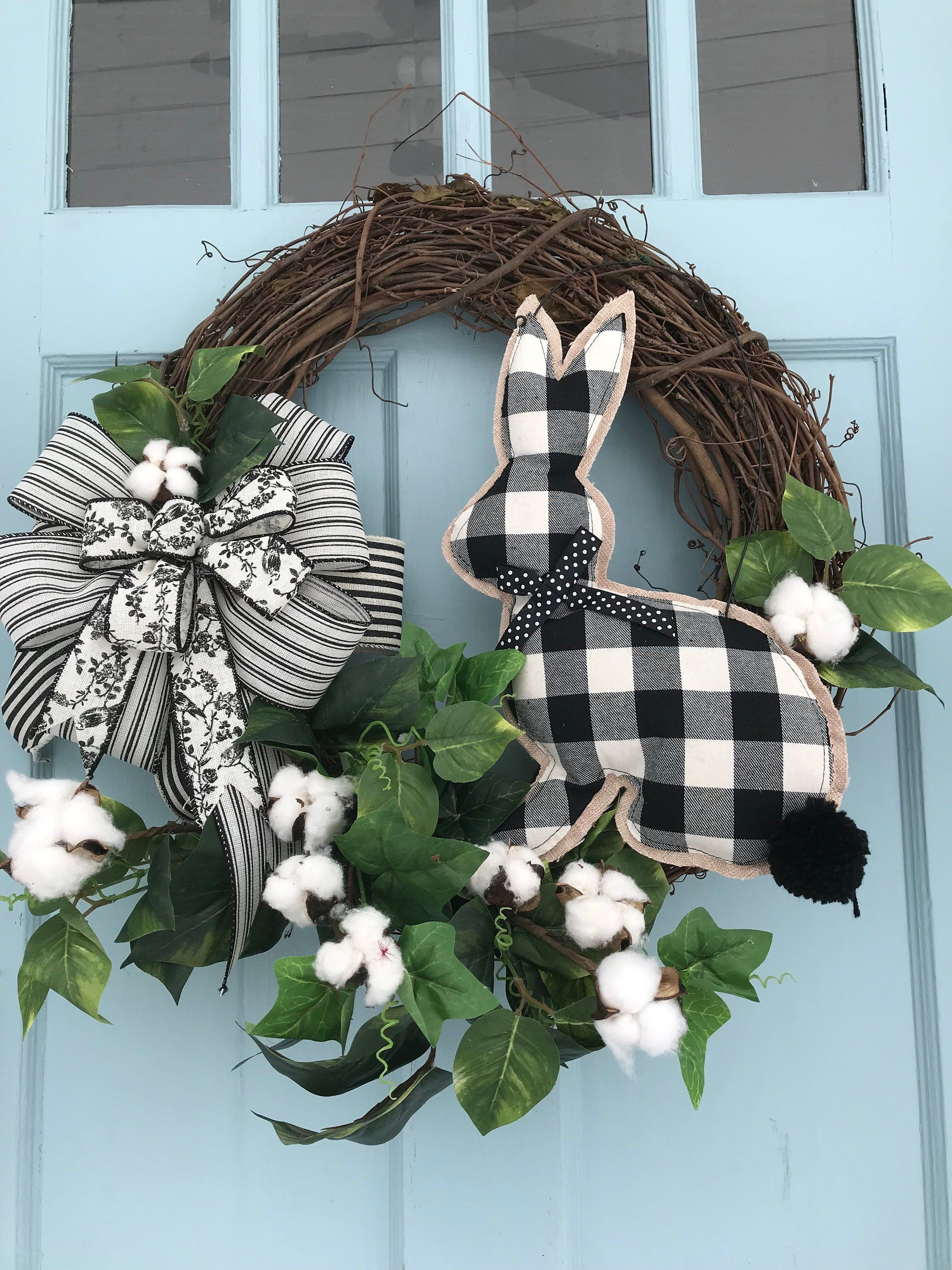 Photo of black and white plaid bow & bunny Cotton Accents Elegant All Season Grapevine Wreath for Door. Wreaths, wreaths for front door,  farmhouse,