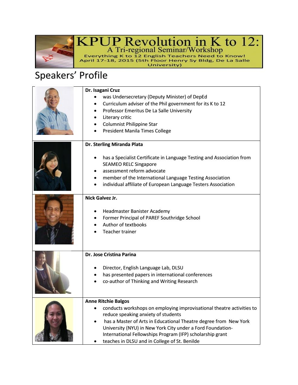 Get to know our speakers before meeting them! To register in our ...