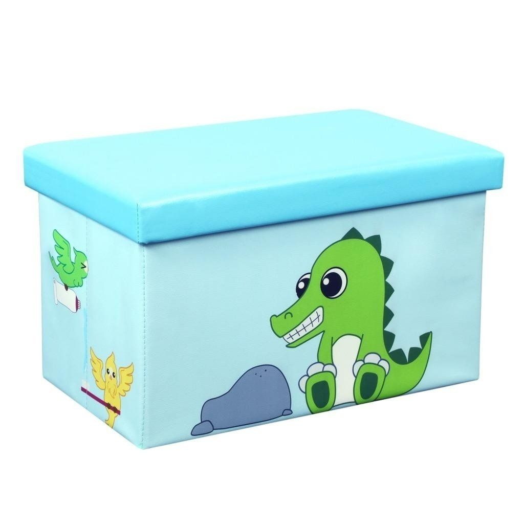 23 Inch Toy Storage Chest Organizer Crocodile And Bird Crown Comfort Casual Modern Contemporary Linen Mdf Memory Foam Multicolor Toy Storage Storage Chest Storage