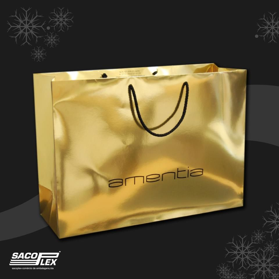 Paper bag yellow - Gold Laminated 250g M2 Paper Bag With Cotton Handles