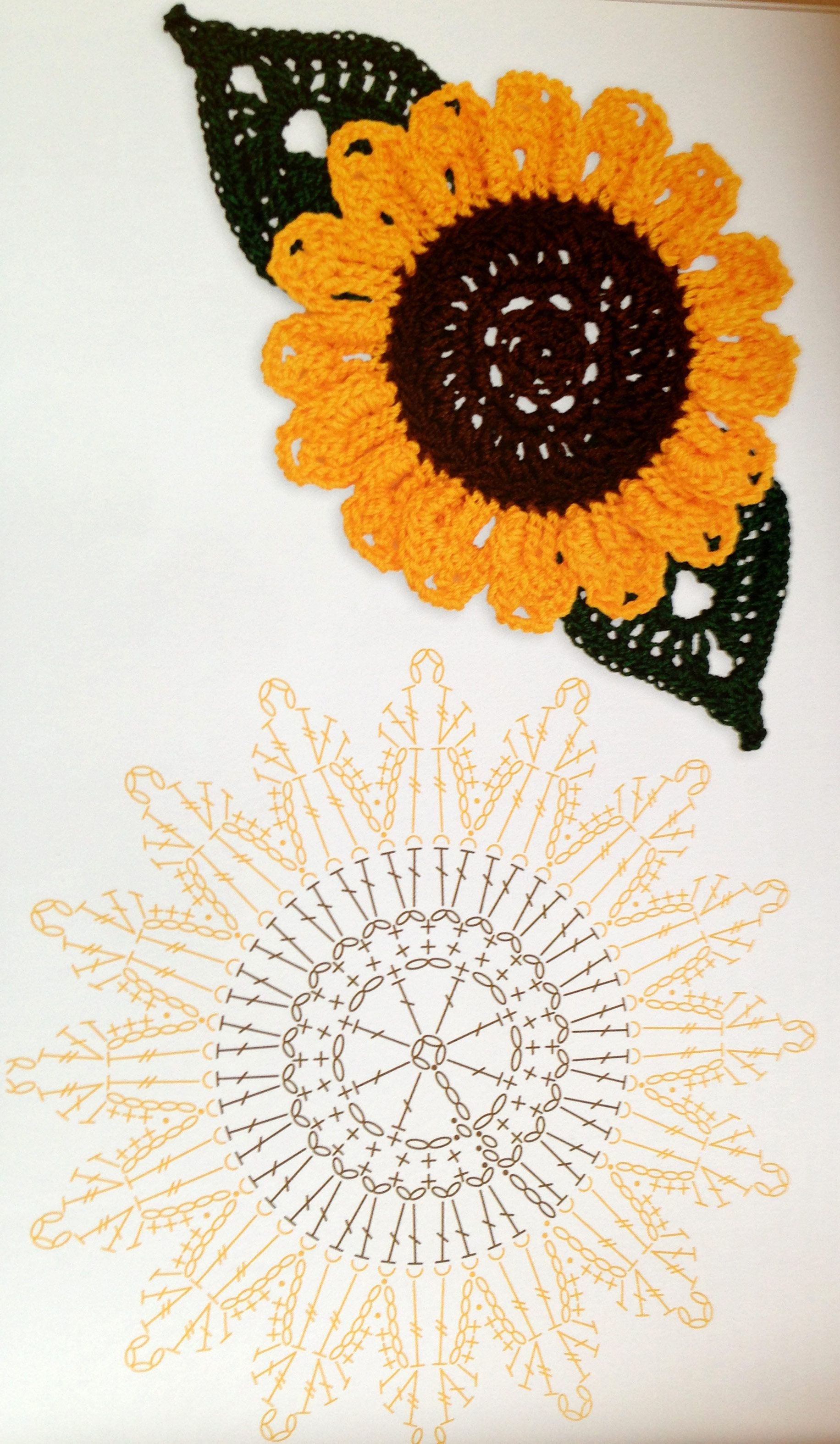 Sunflower crochet pattern | uñas,maquillaje | Pinterest | Girasoles ...