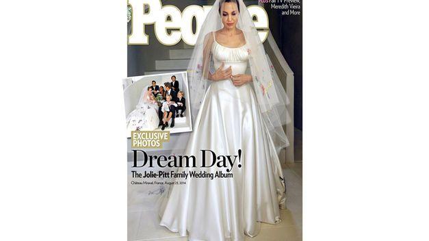 Angelina Jolie con vestido de novia Alta Costura de Versace