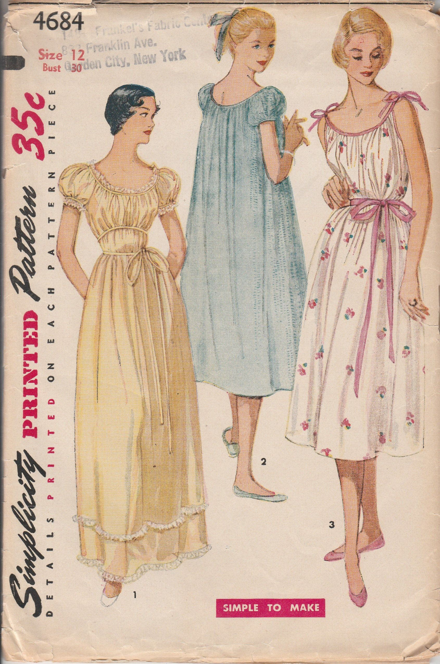 1950s Sewing Patterns 50s Nightgown Grecian Style Loose Fit Puff Sleeves 2 Lengths Size Xs Simplicity 4684 Simple To Make Bust 30 In In 2020 Gown Pattern Night Gown Nightgown Pattern
