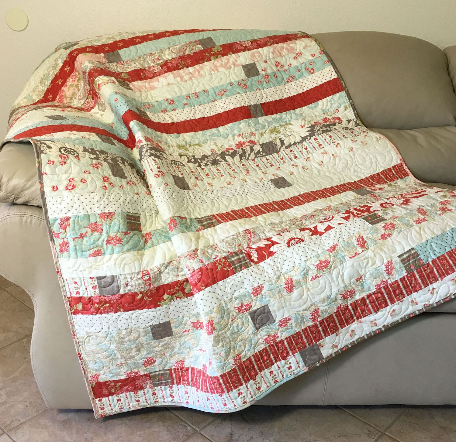 Quilted throw cottage chic lap quilt in coral pink sea glass blue