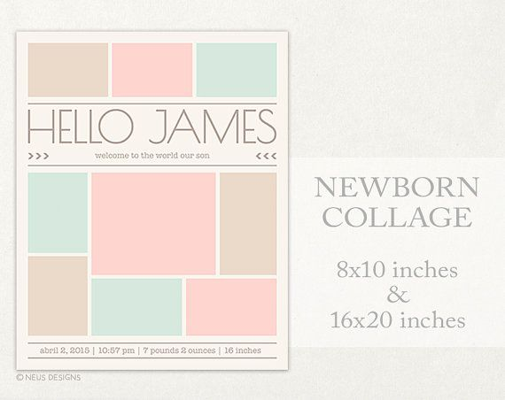Newborn Collage, Photo Collage Template, 8X10, 16X20 Storyboard