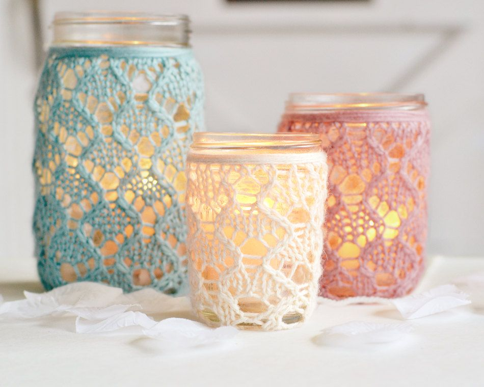 Set of 3: 1 Quart, 1 Pint, & 1  Half-Pint Mason Jar Lace Vase Lantern. $39.00, via Etsy.