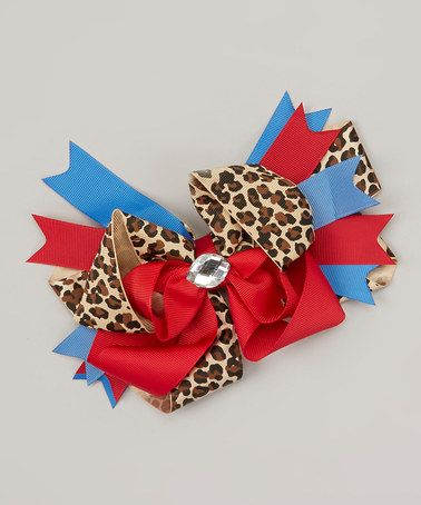 Take a look at this Red & Blue Leopard Rhinestone Bow Clip by Chicky Chicky Bling Bling on #zulily today!