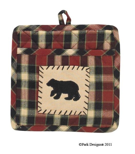 Concord Bear Patch Potholder With Pocket. Part Of The Concord Black Bear  Primitive Kitchen Decorating Collection From Park Designs.