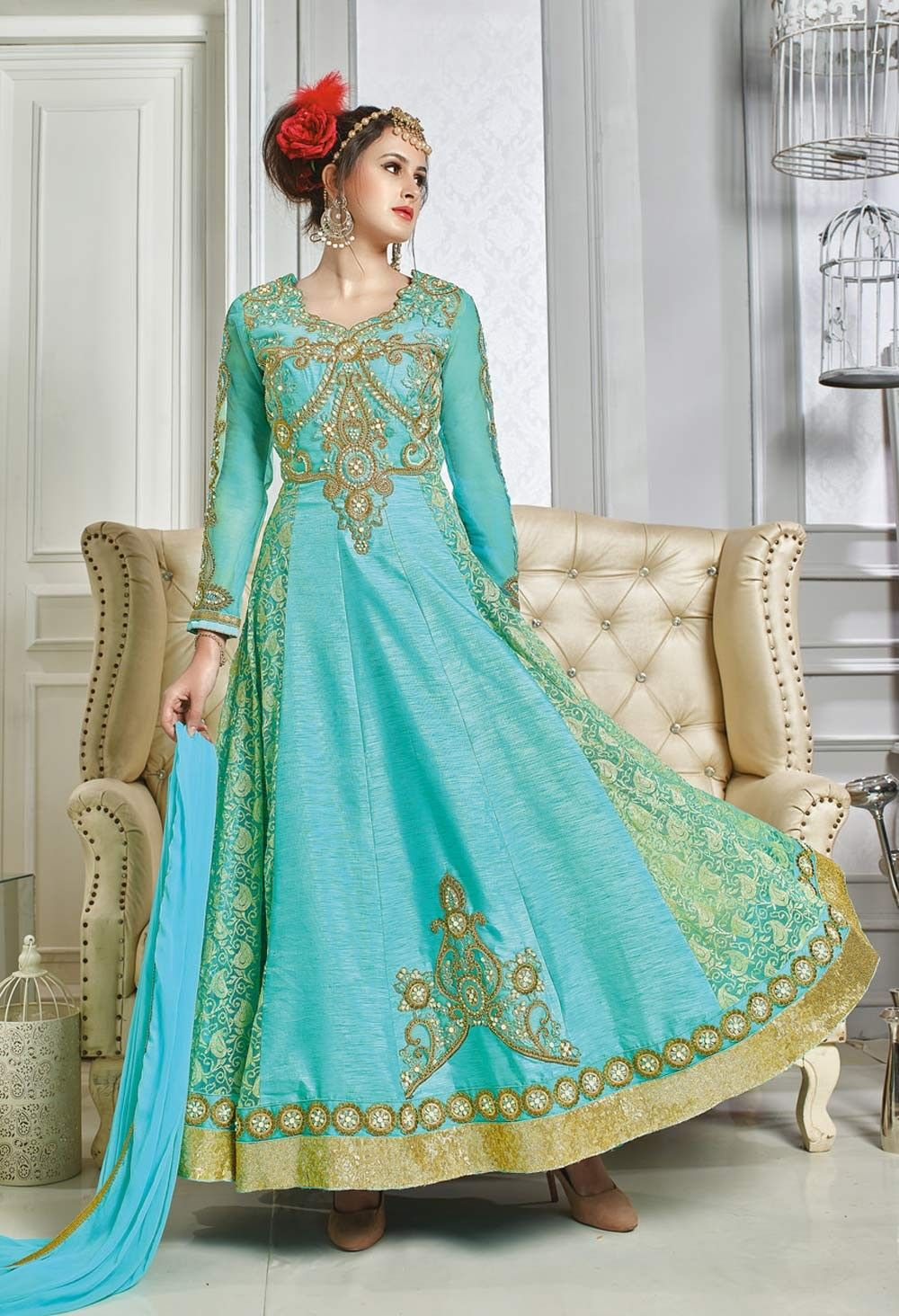 Turquoise wedding wear art silk anarkali salwar suit | Floorlength ...