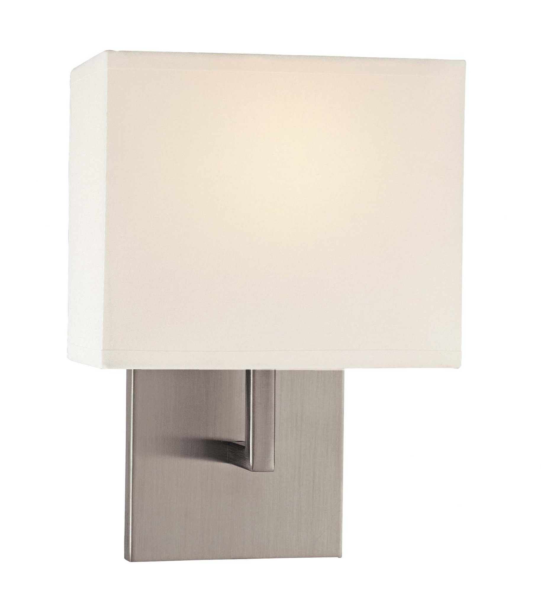 George kovacs by minka bath art vanity light with case etched opal - George Kovacs By Minka 11 5 Wall Sconce In Brushed Nickel With White Fabric Shade