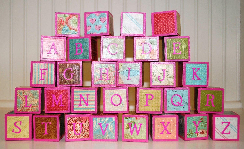 Children's Alphabet Building Blocks / Wooden Building Blocks - Pink Shabby Chic Theme - Set of 30 Blocks. $38,00, via Etsy.