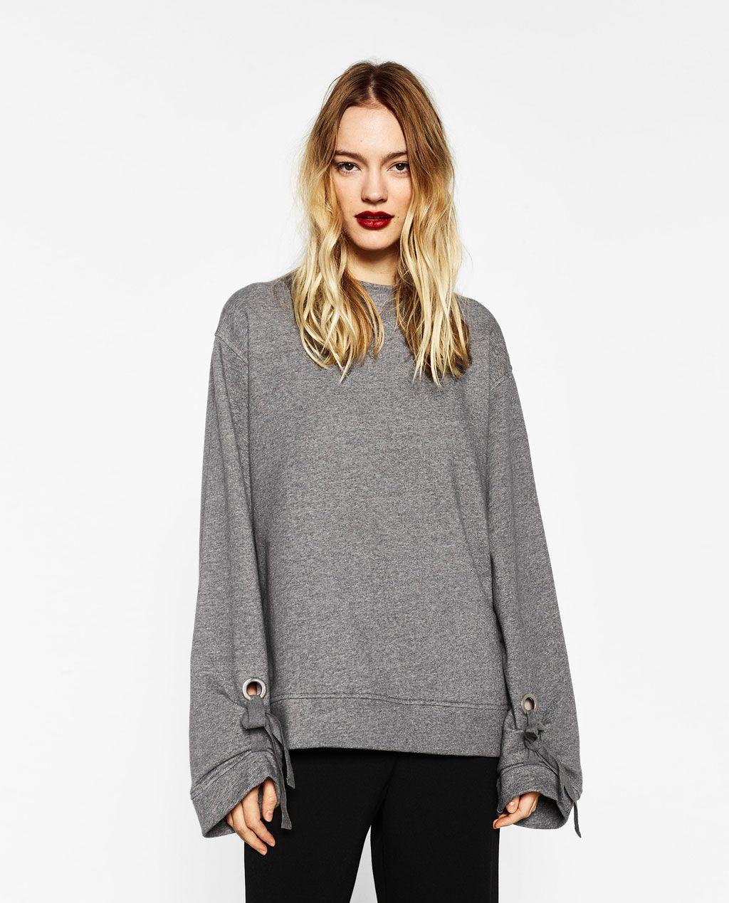 8320eb96 Image 2 of OVERSIZED SWEATSHIRT WITH BOW SLEEVE from Zara | Fashion ...