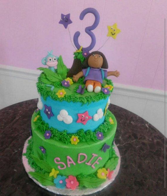 Handmade Edible Fondant Dora and Boots Cake Topper Set ...