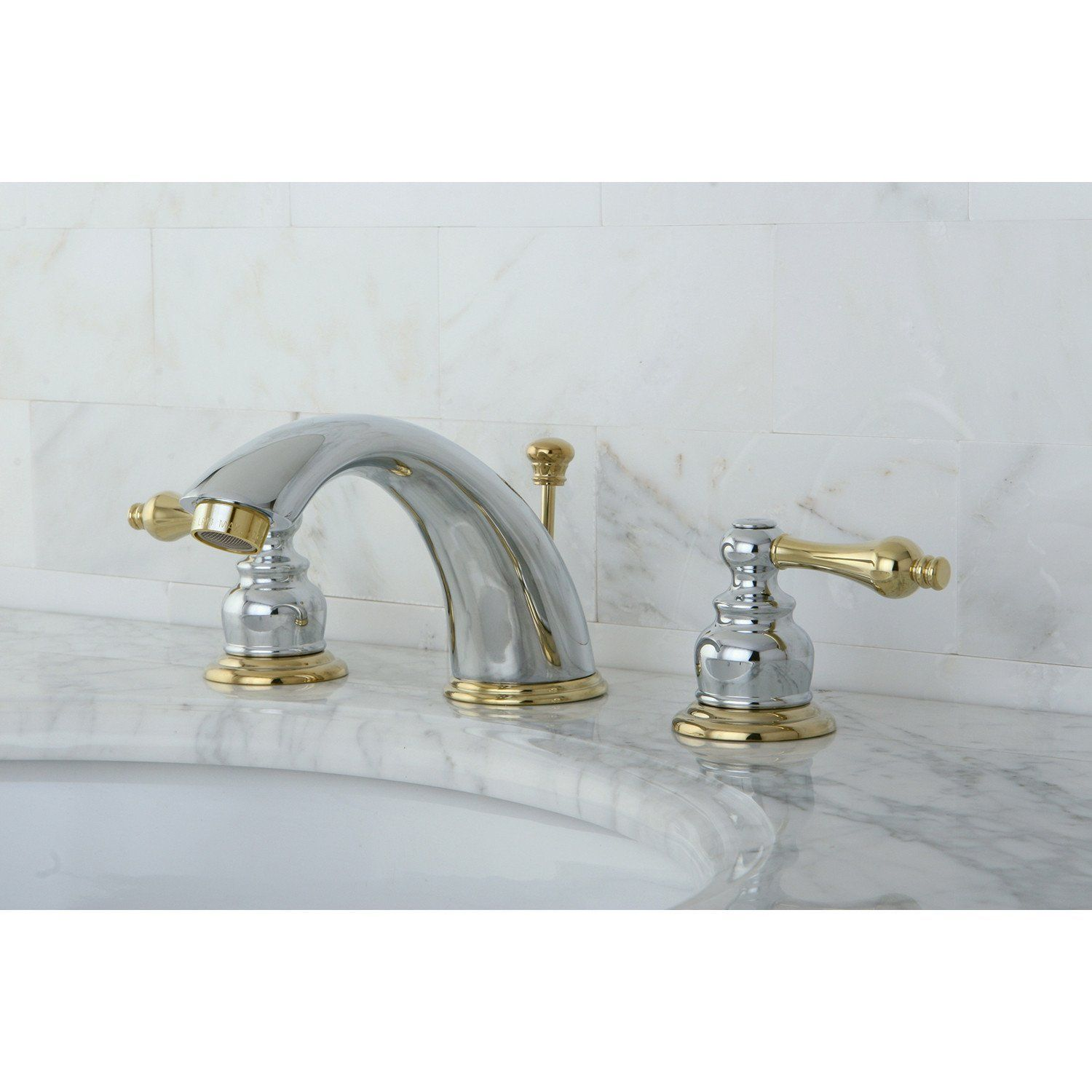 Kingston Chrome Polished Brass Widespread Bathroom Faucet W Pop