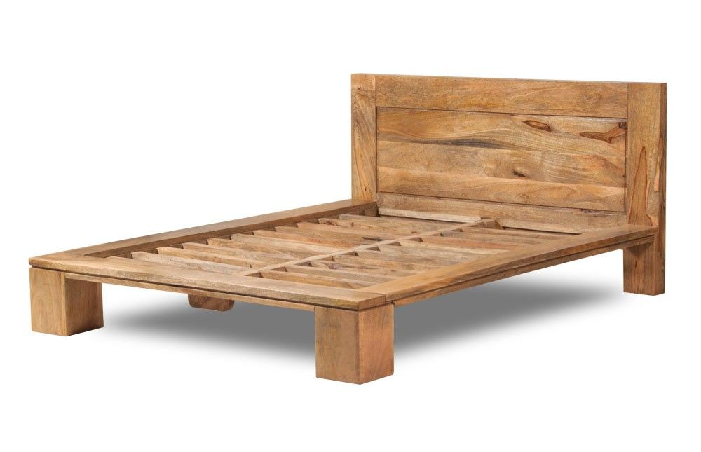 an elegant double bed frame made from solid mango wood handmade and finished with a luxurious golden stain highlighting the character of the natural wood - Wooden King Size Bed Frame