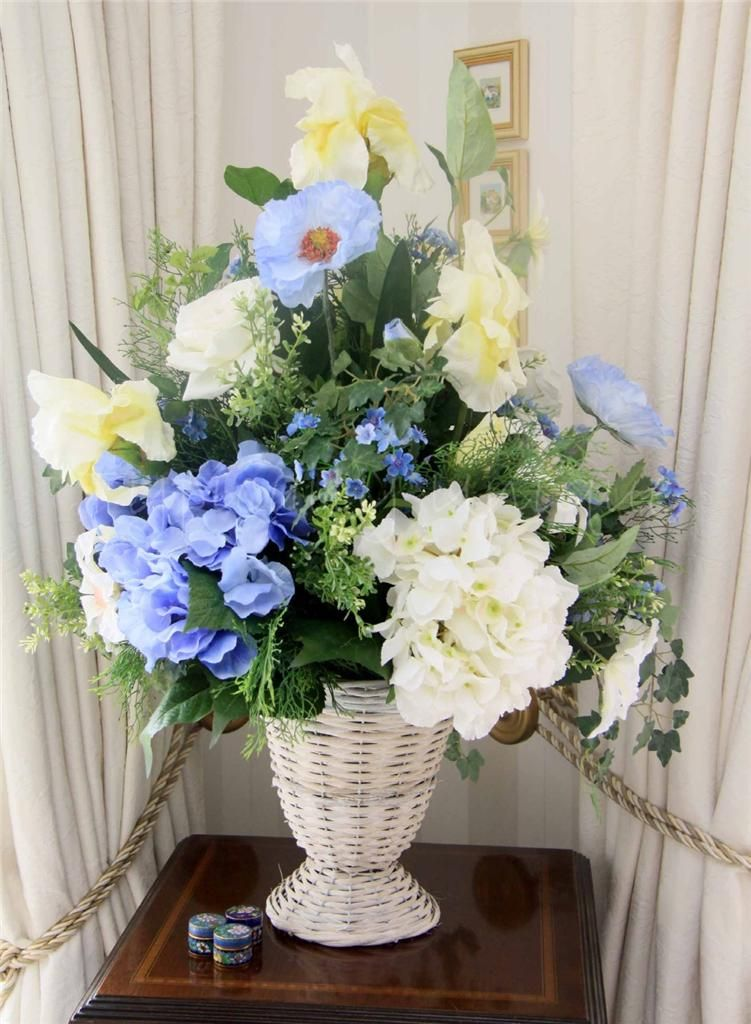 Blue and white hydrangeas iris and roses artificial silk flower auctiva image hosting unique flowerssilk mightylinksfo
